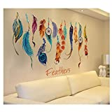 HENGSONG Classique Wall Sticker Creative Dream Catcher Feather Art Mural Decal Lucky 74*48cm