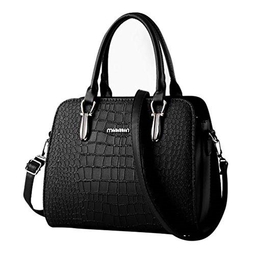 Cerui Borsa Donna a Mano Shopping Bag Ahead Modello da Spalla PU Pelle Nero