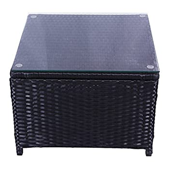 SL New Black Furniture Outdoor Garden PE Rattan Patio Tea/coffee Table(1 pc coffee table)