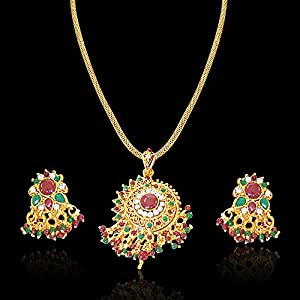Surat Diamonds Round Rajasthani Red & Green Polki & Gold Plated Pendant Necklace & Earring Set for Women (PS6)