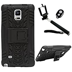 DMG Heavy Duty Mesh Protection Dual Layer Back Cover Case with Kickstand for Samsung Galaxy Note 4 N9100 (Black) + Handheld Selfie Monopod with Bluetooth Clicker