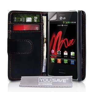 Yousave Accessories LG-FA01-Z093 Etui en cuir pour LG Optimus L3 Noir