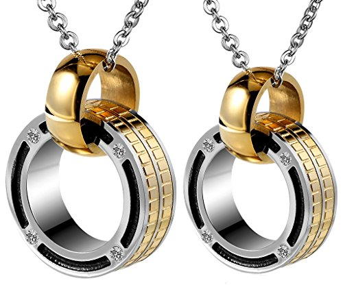 Couples Pendant Stainless Steel CZ Golden Double Rings Linked Finished with Random Chain by Aienid
