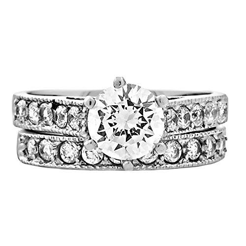 Jaclyn: 2.45Ct 2 Pc Brilliant Cut Russian Iof Cz 6-Prong Style Wedding Ring Set, 3194B Sz 8.0, 316 Steel