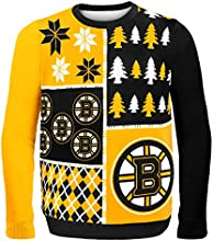 Forever Collectibles NHL Boston Bruins Busy Block Ugly Sweater, Large, Black