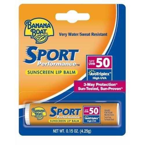 Banana Boat Sport SPF 50 Sunscreen Lip Balm .15 Ounces (Pack of 6)
