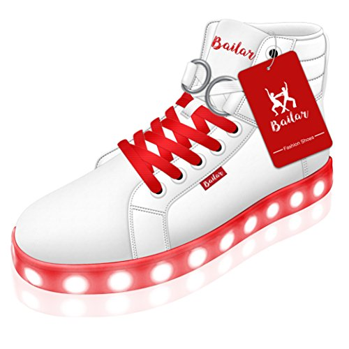 Light Up Shoes For Kids, Girls, Boys, Women & Men - Rechargeable Unisex Led Light Sneakers With 11 Unique Lighting Patterns Plus BONUS: 3 Pairs Of Colorful Trendy Laces By Bailar (Light Pink Roshe Run compare prices)