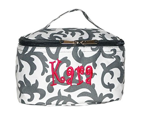 Personalized Cosmetic Bag Make Up Bag Bridesmaid Gift Gray Damask