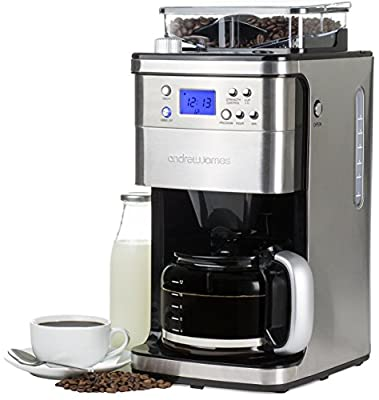 Andrew James Premium Programmable Chrome Filter Coffee Maker With Integrated Bean Grinder Includes Reusable Filter And 2 Year Warranty