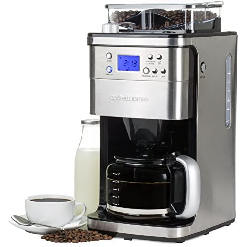 Andrew James Premium Programmable Chrome Filter Coffee Maker With Integrated Bean Grinder Includes Reuseable Filter...