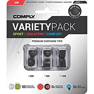 Comply - 100 Medium Variety Pack - One Pair of Sport, Isolation, Comfort each