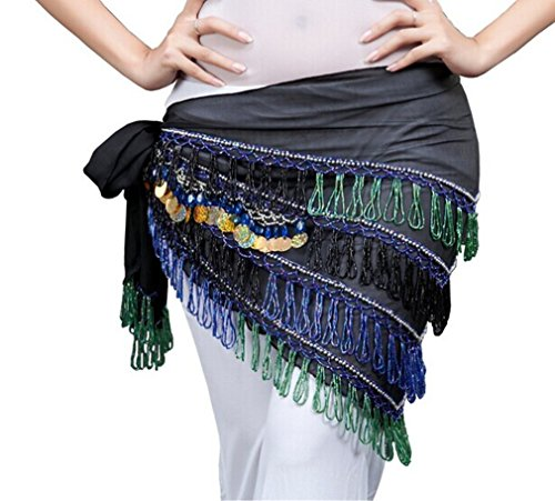 Dreamspell 2014 Elegant Egypt Black Belly Dance Hip Scarf Waist Chain DRSF-81