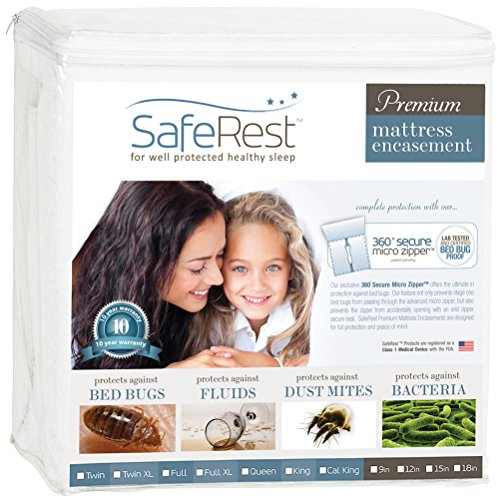 Lowest Prices! SafeRest Premium Zippered Mattress Encasement - Lab Tested Bed Bug Proof, Dust Mite a...