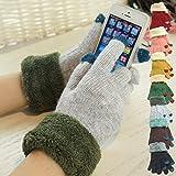 (エムエス ファクトリー) MS factory スマホ手袋 ふわふわ やわらか素材 あったか ニット ボア付き グローブ タッチパネル対応 2本指先ラメ混 《全7色》 グレー (灰色) TGL-TLAME-GY