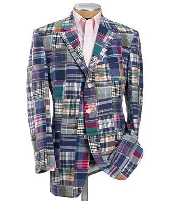 patchwork madras 3 button sportcoat blue pld 42 short at amazon men s clothing store blazers. Black Bedroom Furniture Sets. Home Design Ideas