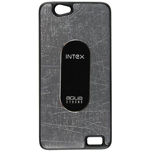 Casotec Metal Back TPU Back Case Cover for Intex Aqua Xtreme - Grey  available at amazon for Rs.119
