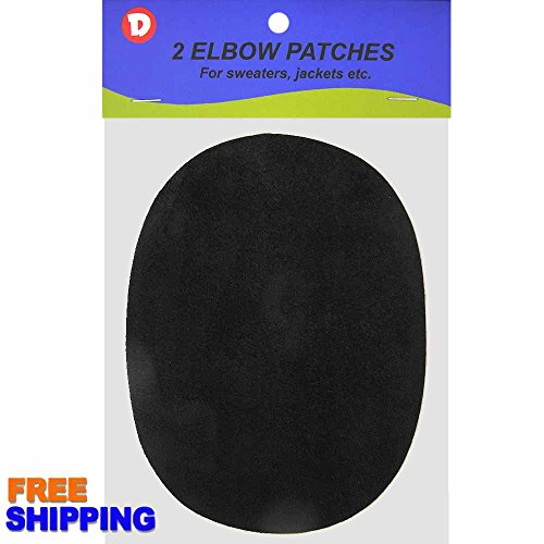 Faux - Suede Garment Iron-On Elbow Patches 4 1/2 x 5 1/2 in 2/Pkg - Black