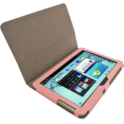 igadgitz Pink Rosa 'Portfolio' PU Leder Tasche Schutz Hülle Schutzhülle Ledertasche Lederetui Etui Case Cover für Samsung Galaxy Tab 2 10.1 P5100 P5110 3G & WiFi Android 4.0 Internet Tablet + Display Schutzfolie