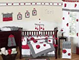 Red and White Polka Dot Ladybug Baby Girl Bedding 9pc Crib Set by Sweet Jojo Designs