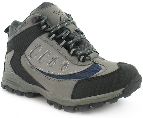 New Boys/Childrens Grey X-Hiking Lace Up Hiking Boots With Mesh Lining - Grey/Blure/Black - UK 13-6