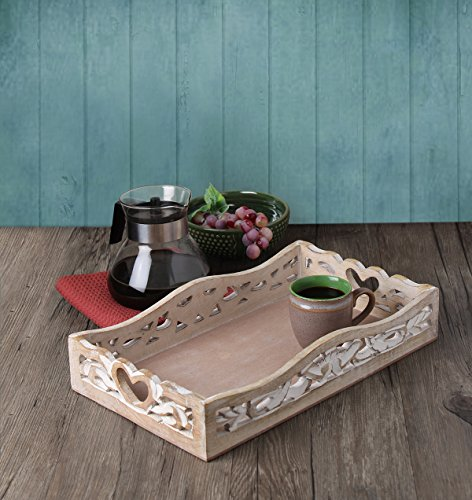 Store Indya Large White Wooden Serving Tray Platter for Tea Snack Dessert Kitchen Dining Serveware (15 x 9.5 Inches)