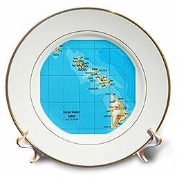 3dRose cp_41576_1 Map of Hawaiian Islands - Porcelain Plate, 8\