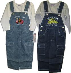Boys Sizes 4T Indigo Denim / Stripe Denim Embrodiery Overall 2-PC Set. ** 2 PACKS **