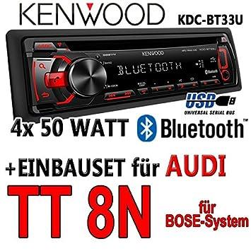 Audi tT 8N bose kenwood kDC-bT33U-bluetooth cD/mP3/uSB avec kit de montage