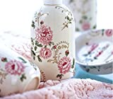 4 Piece Set Ceramic Bathroom Accessory With Vintage White And Pink Floral,Luxury Decor,Elegant Designing Bathrooms,Wedding Gifts,Soap Dispenser/Toothbrush Holder/1 Bathroom Tumbler/Soap Dish