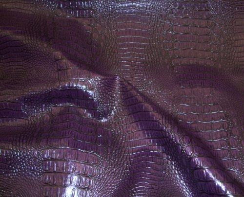 Plum Allie Embossed Alligator Upholstery Faux Vinyl Fabric Per Yard