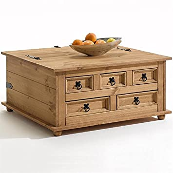 Table basse coffre TEQUILA rangement pin massif style mexicain finition cirée