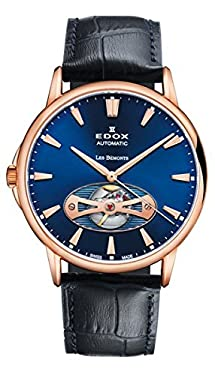Edox Men's 85021 37R BUIR Les Bemonts Analog Display Swiss Automatic Blue Watch