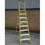 Precise Engineered Youngman Catwalk S400 2.2 Metre Heavy Duty Fibre Glass Step Ladder 8 Tread [Pack of 1] - w/3yr Rescu3® Warranty