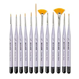 CONDA Detail Paint Brush Set - 12 Miniature Brushes for Detailing & Art Painting - Acrylic, Watercolor, Oil,Models, Airplane Kits, Nail Artist Supplies