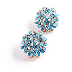 Youbella Gracias Collection Floral Blue Crystal Stud Earrings For Girls And Women
