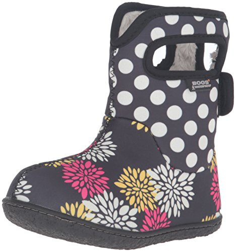 Bogs Baby Classic Pompon Dot Winter Snow Boot (Toddler), Black/Multi, 4 M US Toddler