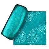 Mermaid Blue Medium Premium Fashion Women's Hard Eyeglasses Case By Spunky Soul   Glitter Blue   Bonus Cleaning Cloth