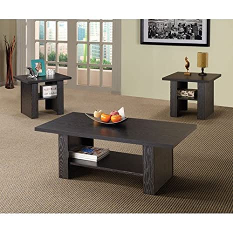 3pc Coffee Table Set with Bottom Shelf in Rich Black Finish