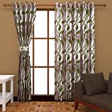 Ab home decor Polyester Door Curtains (Set of 2)-9 Feet x 4 Feet,Green