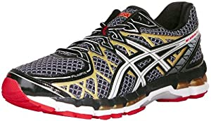 ASICS Men's Gel Kayano 20 Running Shoe,Black/White/Gold,12 M US