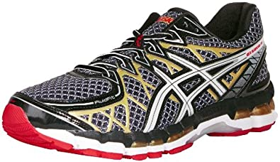 ASICS Men's Gel Kayano 20 Running Shoe,Black/White/Gold,6 M US