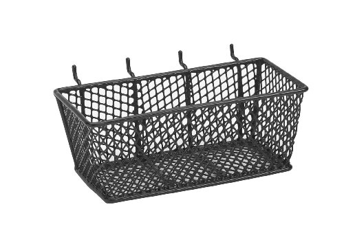 Handmade Peg Baskets : Bulldog wire mesh basket with peg hooks black