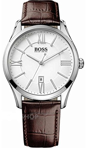Hugo Boss White Dial Brown Leather Strap Men's Watch HB 1513021