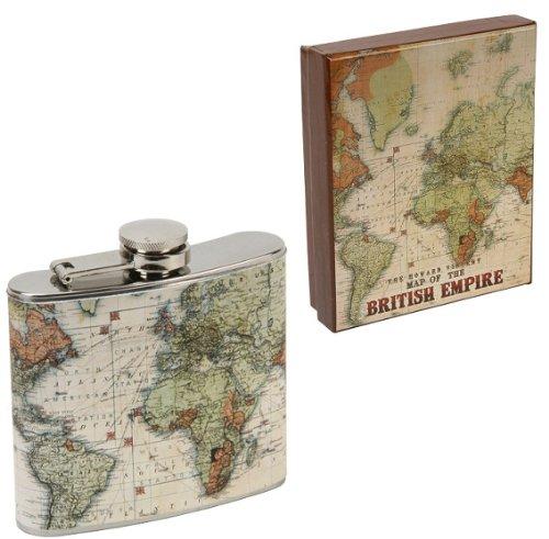 Harvey Makin Vintage Map Hip Flask