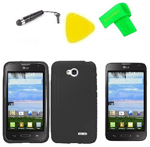 Phone Cover Case Cell Phone Accessory + Extreme Band + Stylus Pen + Lcd Screen Protector + Yellow Pry Tool For Straight Talk Lg Ultimate 2 L41C (Silicone Black)