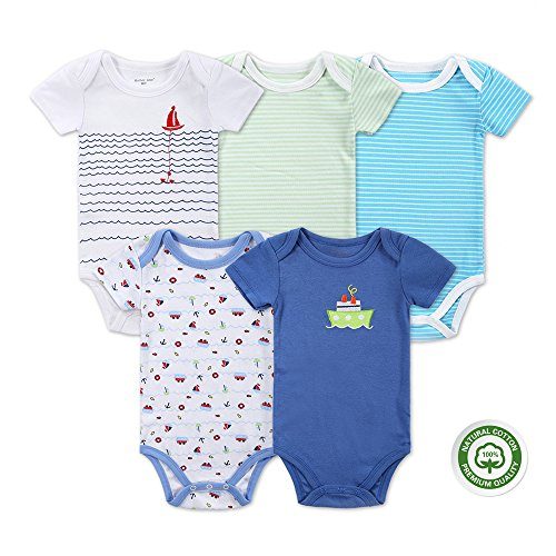 Mother Nest Baby Bodysuit Onesies Clothes Boys 5 Pack(BBT052-6M)