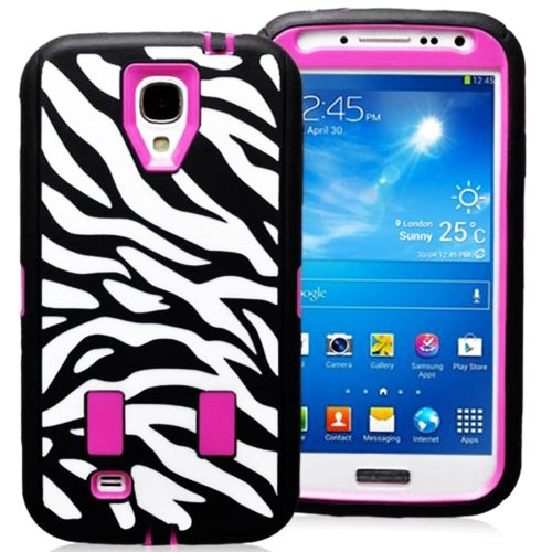 Mylife (Tm) Black And Hot Pink - Zebra Stripe Print Armor Series (Durable Built In Screen Protector + Urban Body Armor Glove) Case For Samsung Galaxy S3 Gt-I9300 And Gt-I9305 Touch Phone (Thick Silicone Outer Gel + Tough Rubberized Internal Shell)