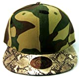 Faux Snakeskin Vintage Snapbacks Hats Fashion - Camo Brown at Amazon.com