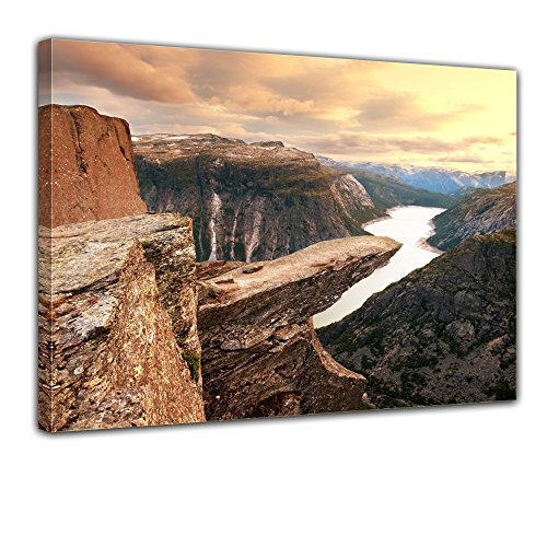"Bilderdepot24 Leinwandbild ""Trolltunga Norwegen"" - 70x50 cm 1 teilig - fertig gerahmt, direkt vom Hersteller"