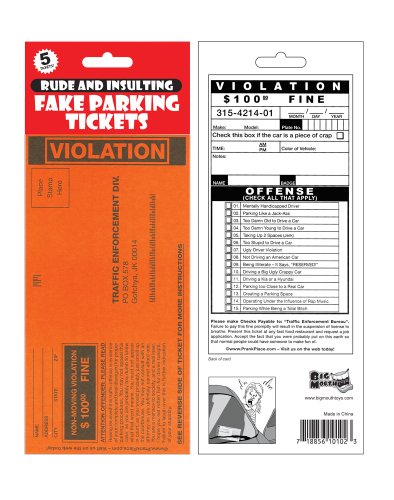 BigMouth Inc 5 Pack Fake Parking Tickets